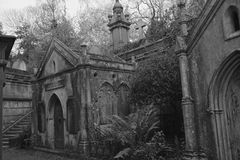 Lebanon Circle West Highgate Cemetery. Black and white photo of the Lebanon Circle in the West side of Highgate Cemetery. The west side was the first part of the Royalty Free Stock Photography