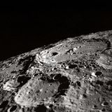 Black and White Photo of Moon Surface Stock Photography