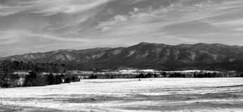 Black and white photo of Mountain range Royalty Free Stock Photography