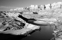 Black and White Photo of Mountains and River Stock Photo