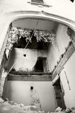 Black and white photo of an old, abandoned, ruined house Royalty Free Stock Photography