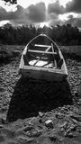 Black and white photo of an old boat Royalty Free Stock Photo