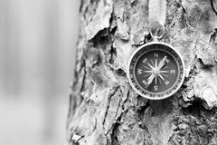 Black and white photo of an old compass in retro style Royalty Free Stock Photo