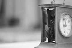 Black and white photo of old mantel clock Stock Photos