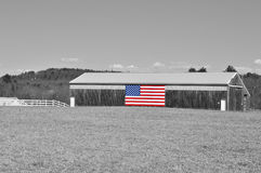 Horse Barn with American Flag Royalty Free Stock Photography