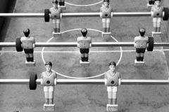 Black and white photo of old table football Royalty Free Stock Image