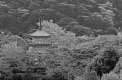 Black and White Photo Pagoda in Kiyomizu Temple. Stock Images