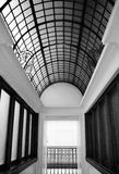 Black and white photo of 25 panel arched lead glass ceiling Stock Images