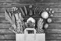 Black and white photo, healthy food, grocery shopping, vegetable stock photo