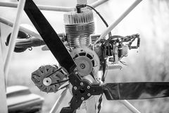 Black and white photo of paraglider engine and propeller Royalty Free Stock Image