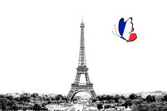 Black and white photo of Paris panorama with a view of the Eiffel Tower with butterfly around in the colors of the national flag. Of France. Isolated on white royalty free illustration
