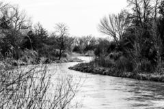 Black and white photo of the platte royalty free stock photo