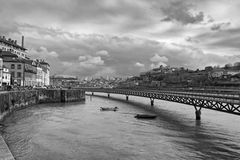 Black-and-white photo of Porto with the Douro River Stock Photo