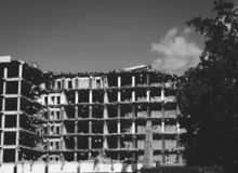 In the process of demolishing an old building royalty free stock photography