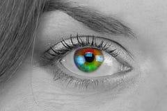 Black and white photo of rainbow eye. Close up royalty free stock photo