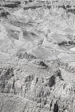 Black and white photo of rock formations in Grand Canyon. Stock Images