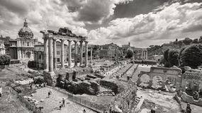 Black and white photo of Roman Forum in Rome, Italy royalty free stock photography