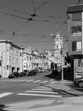 Black and white photo of a San Francisco crossroads with electricity cables overhead Stock Image