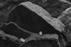 A Closeup Image of a Scattered Diamonds Showing the Facets of the Gem on a Rock. A Black and White Photo of Scattered Diamonds with a Blurred Rock Background royalty free stock images