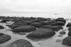 Black and white photo of sea Royalty Free Stock Photos