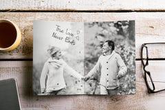 Black-and-white photo of senior couple in autumn nature, studio Stock Photo