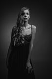Black and white photo of sensual woman Royalty Free Stock Photography