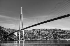 Black and white photo of Skarnsund Bridge Stock Image