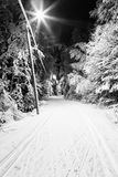 Black and white photo of a ski track at night Stock Photos
