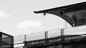 Black and White photo of the sky train station in Bangkok. Royalty Free Stock Photo
