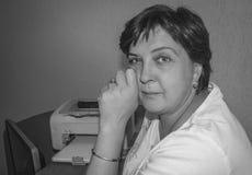 Black and white photo of stylish woman Stock Image