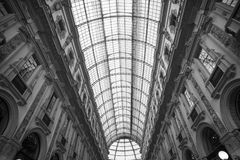 Galleria Vittorio Emanuele II° Building in Milan,Italy. Black and white photo of the top of the Vittorio Emanuele II° Gallery in the very downtown of Milan royalty free stock photos