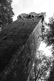 Castle in Cieszyn. Black and white photo of a tower of castle in Cieszyn, Poland royalty free stock images
