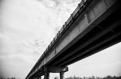 A traditional architectural bridge. Black and white photo of a traditional highway bridge unique royalty free image stock images