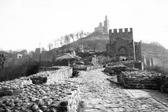 Black and white photo of Tsarevets fortress, Veliko Tarnovo, Bulgaria. Tsarevets is a medieval stronghold located on a hill with the same name in Veliko Tarnovo stock image