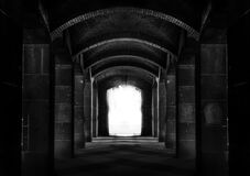 Black and White Photo of a Tunnel Royalty Free Stock Photo