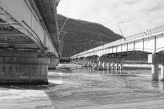 Black and white photo of two bridges Royalty Free Stock Image