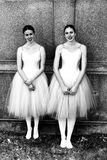 Students from l'École supérieure de ballet du Québec standing. Black and white photo of two students from l'École supérieure de ballet du Qu royalty free stock images
