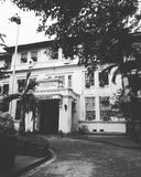 black and white photo of university of the philippines college of medicine royalty free stock image