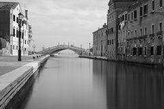 Black and white photo Venice canal Stock Image