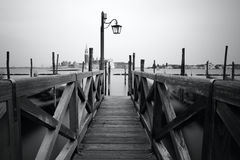 Black and white photo of Venice seafront Royalty Free Stock Photo