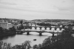 The black and white photo of Vltava river in Prague, Czech Republic royalty free stock photos