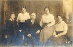 Black and white photo of wealthy family 1890s - 1900s. Vintage black and white photo of wealthy family 1890s 1900s, Victorian or Edwardian. Social history royalty free stock photo