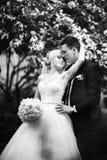 Black and white photo of wedding couple royalty free stock photo