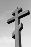 Black-and-white photo with wooden cross Royalty Free Stock Photo