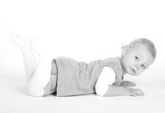 Black and white photo of a young girl Stock Images