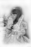 Black and white photo of a young princess Stock Image