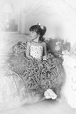 Black and white photo of a young princess Stock Images