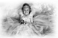 Black and white photo of a young princess Royalty Free Stock Images