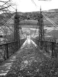 Black and white photograph of a bridge Stock Photo