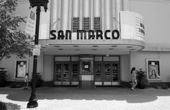 Black and white photograph of the front of an art deco cinema Stock Photography